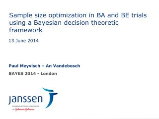 Sample size optimization in BA and BE trials using a Bayesian decision theoretic framework