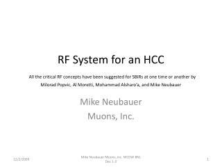 Mike Neubauer Muons, Inc.