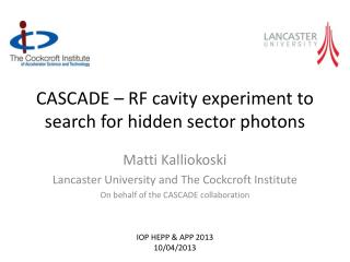 CASCADE – RF cavity experiment to search for hidden sector photons