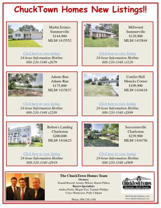 ChuckTown  Homes New Listings!!