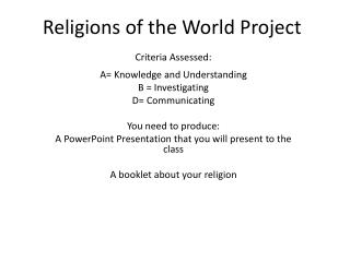 Religions  of  the World  Project