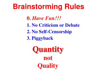 Brainstorming Rules