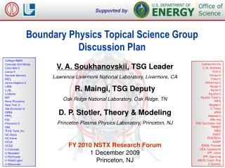 Boundary Physics Topical Science Group Discussion Plan