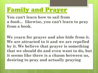 Family and Prayer