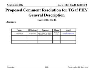 Proposed Comment Resolution for  TGaf  PHY General Description