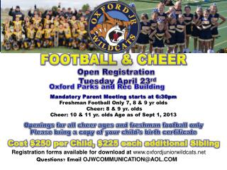 Open Registration  Tuesday  April 23 rd Oxford  Parks and  Rec  Building