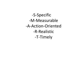 -S-Specific  -M-Measurable  -A-Action-Oriented  -R-Realistic  -T-Timely