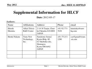 Supplemental Information for HLCF