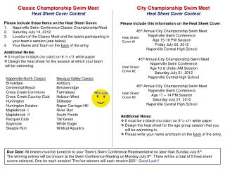Classic Championship Swim Meet  Heat Sheet Cover Contest