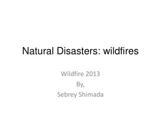 Natural Disasters: wildfires