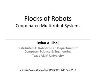 Flocks of Robots Coordinated  Multi-robot Systems