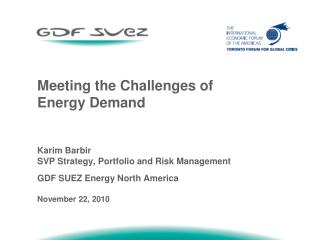 Meeting the Challenges of Energy Demand Karim Barbir  SVP Strategy, Portfolio and Risk Management