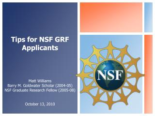 Tips  for  NSF GRF Applicants