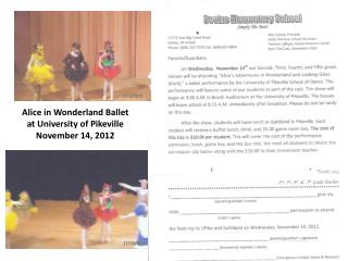 Alice in Wonderland Ballet at University of Pikeville November 14, 2012
