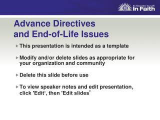 Advance Directives  and End-of-Life Issues