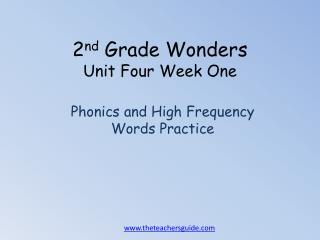 2 nd  Grade Wonders Unit  Four  Week One