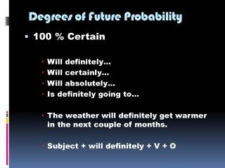 Degrees of Future Probability
