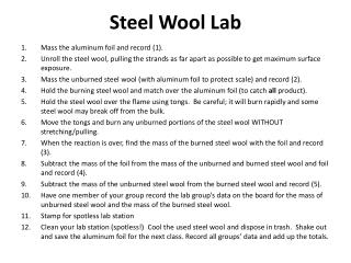 Steel Wool Lab