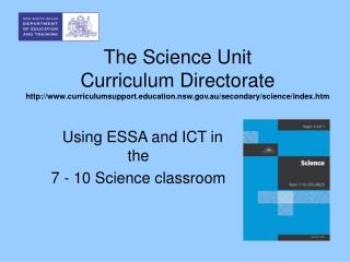 The Science Unit Curriculum Directorate curriculumsupportcation.nsw.au