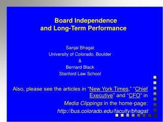 Board Independence  and Long-Term Performance