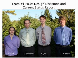 Team #1 PICA: Design Decisions and Current Status Report