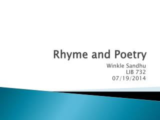 Rhyme and Poetry