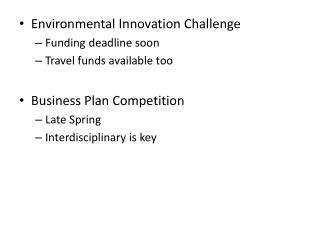 Environmental Innovation Challenge Funding deadline soon Travel funds available too