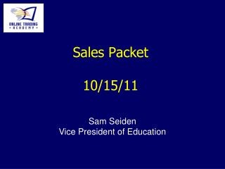 Sales Packet 10/15/11
