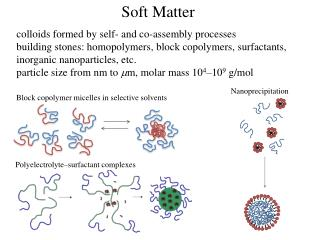 Soft Matter c olloids formed by self- and co-assembly processes