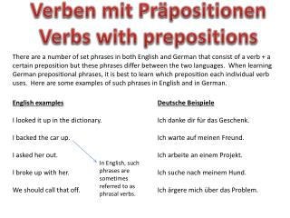 Verben mit Präpositionen Verbs with prepositions