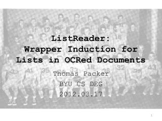 ListReader : Wrapper Induction for Lists in OCRed Documents