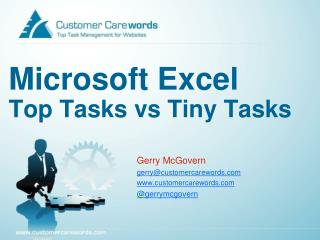 Microsoft Excel Top Tasks vs Tiny Tasks