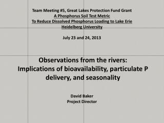Team Meeting #5, Great Lakes Protection Fund Grant A Phosphorus Soil Test Metric