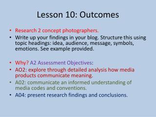 Lesson 10: Outcomes