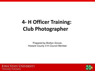 4- H Officer Training: Club Photographer