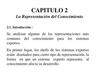 CAPITULO 2 La Representaci n del Conocimiento