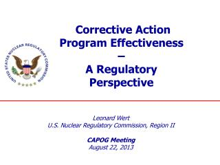 Corrective Action Program Effectiveness  –  A Regulatory Perspective
