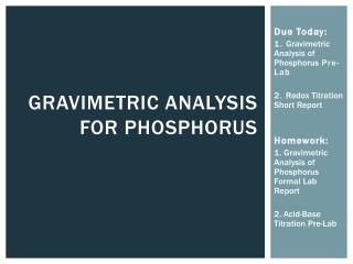Gravimetric Analysis for Phosphorus