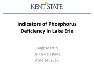 Indicators of Phosphorus Deficiency in Lake Erie