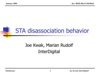 STA disassociation behavior