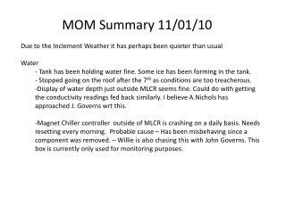 MOM Summary 11/01/10