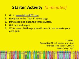 Starter Activity   (5 minutes)