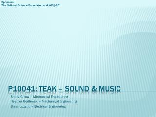 P10041: TEAK – Sound & music