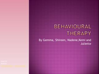 Behavioural Therapy
