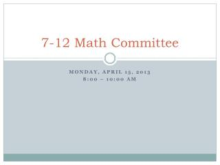 7-12 Math Committee