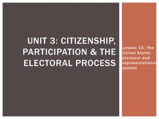 Unit  3: Citizenship, participation & the electoral process