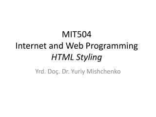 MIT50 4 Internet and Web Programming HTML Styling