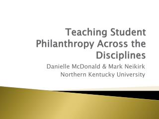 Teaching Student Philanthropy Across the Disciplines