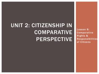 Unit 2: citizenship in comparative perspective