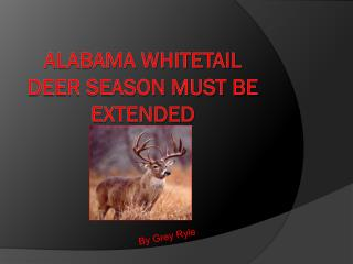 Alabama Whitetail Deer Season Must Be Extended